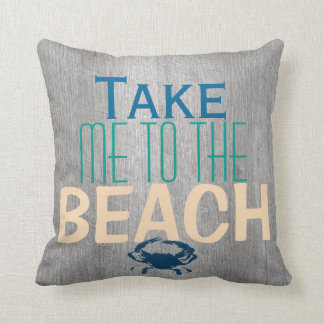 Grauer Treibholz-Strand-blaue Krabbe Kissen