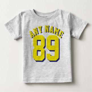 Grauer u. gelber Sport-Jersey-Entwurf des Baby-  Baby T-shirt