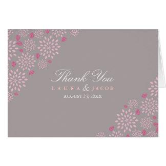 Grauer u. rosa Frühlings-Blumenhochzeit danken Karte