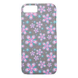 Grauer und rosa Blumen-Kasten iPhone 8/7 Hülle