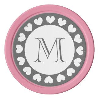 Grauer und rosa Hochzeits-Poker bricht   Poker Chip Set