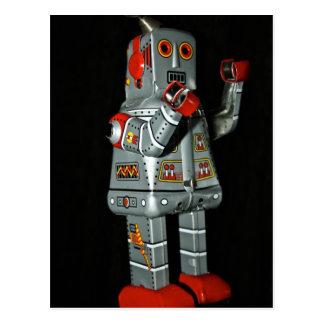 Grauer und roter Roboter-mechanische Postkarte