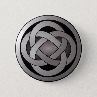Grauer und schwarzer, keltischer Knoten Runder Button 5,1 Cm
