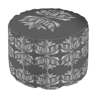 Grauer und silberner Lotos-Blumenentwurf Hocker