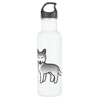 Grauer und weißer Cartoon-sibirischer Edelstahlflasche