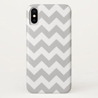Grauer und weißer Zickzack-Zickzack Muster iPhone X Hülle