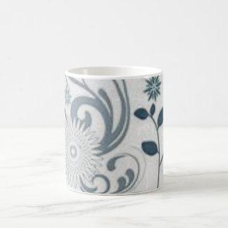 Grauer Wirbel und Blumen Kaffeetasse