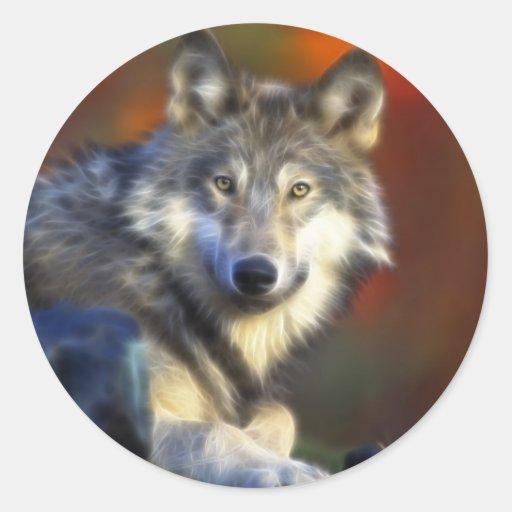 Grauer Wolf, Arten-Digitalfotografie Aufkleber
