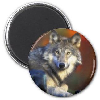 Grauer Wolf, Arten-Digitalfotografie Kühlschrankmagnet