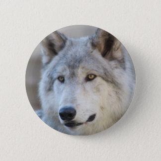 Grauer Wolf-Gesicht Runder Button 5,1 Cm