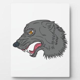Grauer Wolf-Hauptknurrenzeichnen Fotoplatte