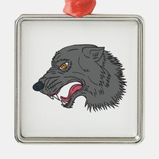Grauer Wolf-Hauptknurrenzeichnen Silbernes Ornament