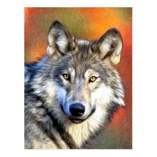 Grauer Wolf-Kunst-Malerei Postkarte