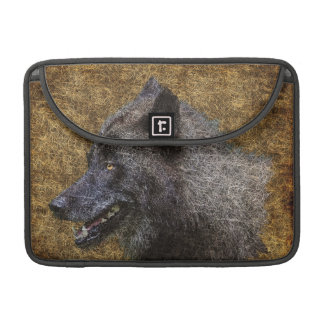 Grauer Wolf-Kunst-Tier-MacBook-Klappen-Kasten Sleeve Für MacBook Pro