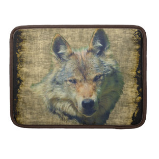 Grauer Wolf-Schmutz-Tier-Kunst-MacBook-Hülse Sleeve Für MacBooks