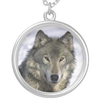 Grauer Wolf-Silber Neckace Versilberte Kette