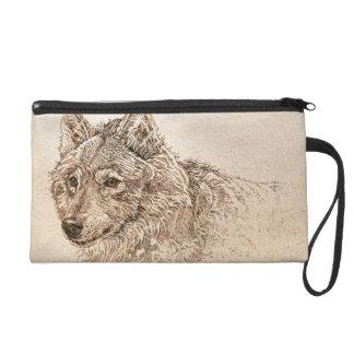 Grauer Wolf-Tasche Wristlet Handtasche