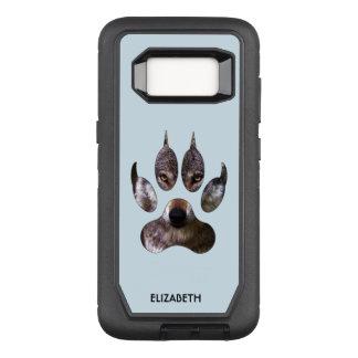 Grauer Wolf-Tatzen-mustert Raubporträt-Gelb cooles OtterBox Defender Samsung Galaxy S8 Hülle