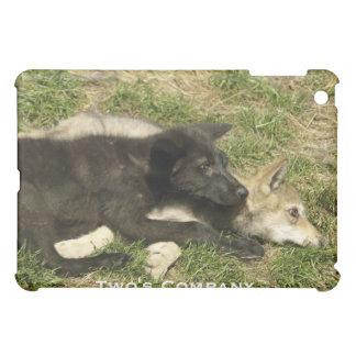 Grauer Wolf-Tier-und Natur-Entwurf Hüllen Für iPad Mini