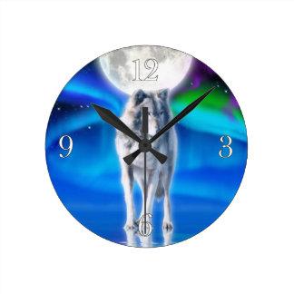 Grauer Wolf-u. Aurora-Mond-Tier-Kunst-Uhr Runde Wanduhr