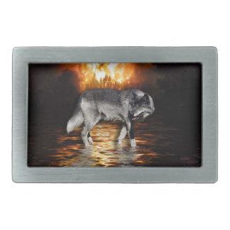 Grauer Wolf-u. Feuer-Überlebend-Gürtelschnalle Rechteckige Gürtelschnallen