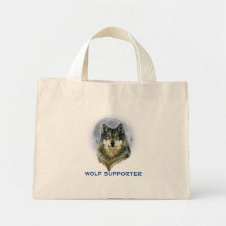 GRAUER WOLF u. MOND Tierliebhaber-Kunst Mini Stoffbeutel