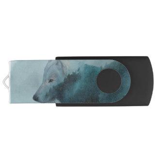 Grauer Wolf u. nebelhaftes Wald#Gift USB Stick