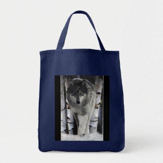 Grauer Wolf-u. silberne Birken-Waldtier-Tasche Tragetasche