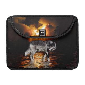 Grauer Wolf-u. Waldbrand-Tier-MacBook-Hülse MacBook Pro Sleeve
