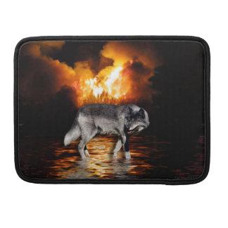 Grauer Wolf-u. Waldbrand-Tier-MacBook-Hülse Sleeve Für MacBook Pro