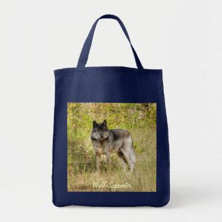 Grauer Wolf-u. Wildnis-Foto-Geschenk Tragetasche