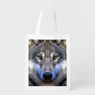 Grauer Wolf Wiederverwendbare Einkaufstasche