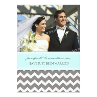 Graues Aqua-Zickzack Foto-gerade verheiratete 12,7 X 17,8 Cm Einladungskarte