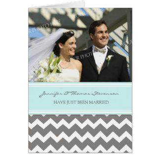 Graues Aqua-Zickzack gerade verheiratete Foto-Mitt Grußkarte