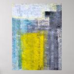 Graues, aquamarines und gelbes abstraktes Kunst-Pl Plakatdruck