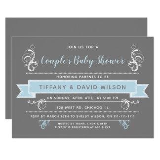 graues Blau verbindet Babyparty-Einladung Karte