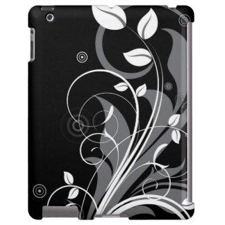 Graues Blumenmuster auf Schwarzem iPad Hülle