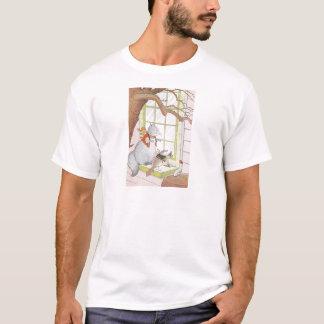 Graues Eichhörnchen u. Vogel, die im Fenster T-Shirt