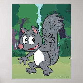 Graues Eichhörnchen-Wellenartig bewegen Poster