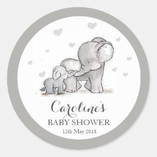 Graues Elefant-Liebe-blaues Baby-Duschen-Aufkleber Runder Aufkleber