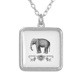 graues Elefanttier Versilberte Kette