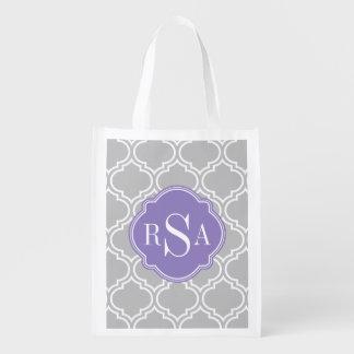 Graues Fliesen-Gitter-Muster-Lavendel-Monogramm Wiederverwendbare Einkaufstasche