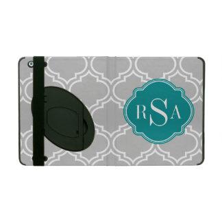 Graues Fliesen-Gitter-Muster-Smaragd-Monogramm Schutzhülle Fürs iPad