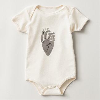 Graues Herz Baby Strampler
