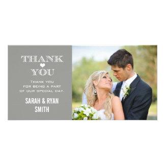 Graues Herz-Hochzeits-Foto danken Ihnen Karten Fotokartenvorlage