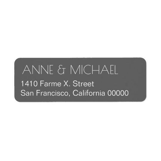 graues HochzeitsAdressen-Etikett mit Paarnamen Rückversand-Adressaufkleber