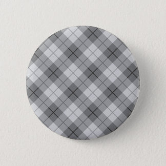 Graues kariertes runder button 5,1 cm