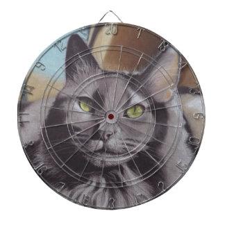 Graues Katzen-Haustier-Porträt Dartscheibe