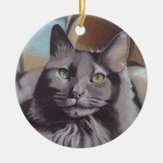 Graues Katzen-Haustier-Porträt Keramik Ornament