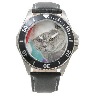 Graues Katzenweihnachten - Weihnachtskatze - Armbanduhr